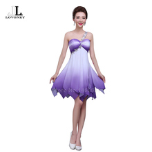LOVONEY W105 A-Line One-Shoulder Chiffon Beads Short Prom Dresses 2017 Hot Sale Purple Dress for Prom Party Gown Robe De Soiree