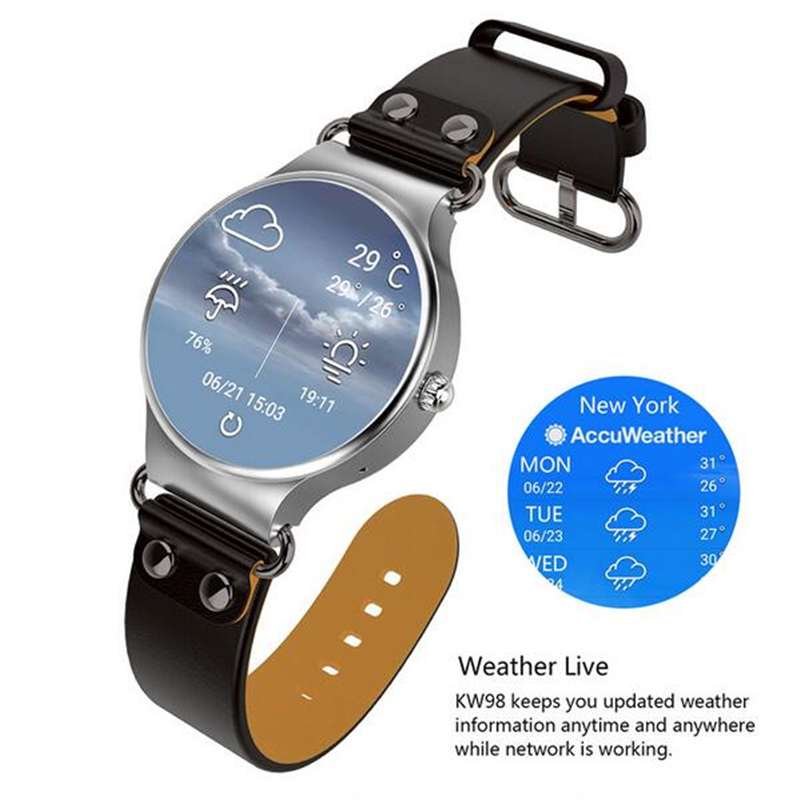 KingWear KW98 3G Smartwatch 8GB GPS Wristwatch Phone Android 5 1 MTK6580  Quad Core 1 39 inch Heart Rate Monitor Pedometer-in Smart Watches from