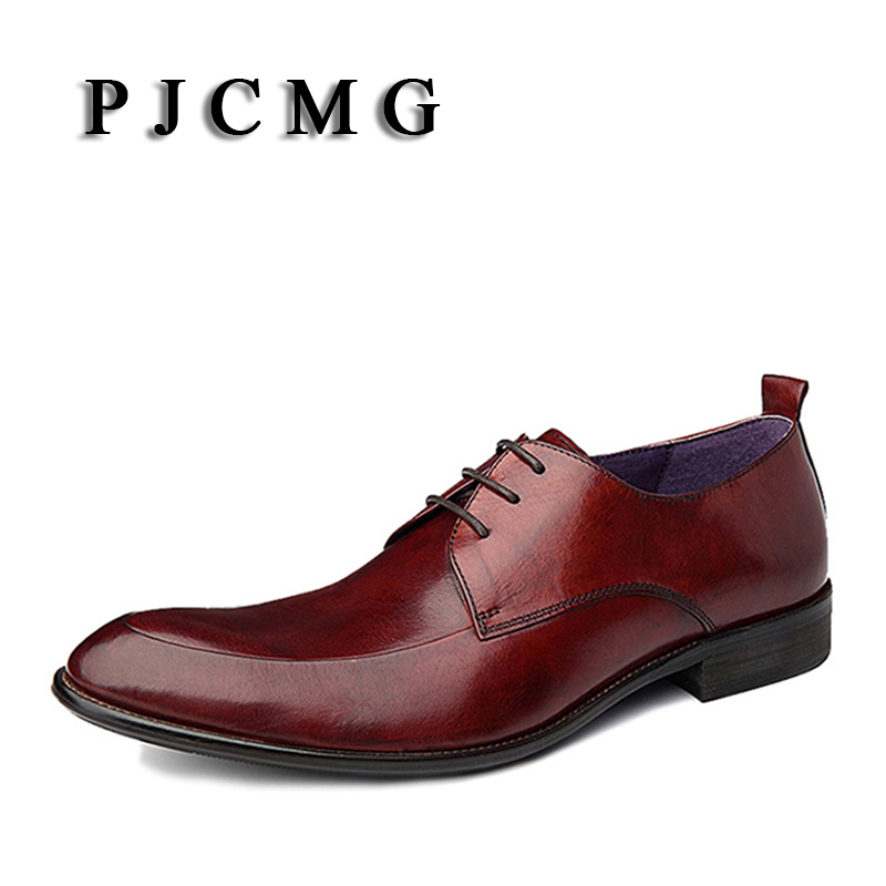 PJCMG Fashion Italian Luxury Mens Shoes Casual Oxfords Black Red Lace-Up Designer Genuine leather Men Flats Office Wedding Shoes 2017 new fashion italian designer formal mens dress shoes embossed leather luxury wedding shoes men loafers office for male