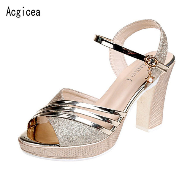 2018 New Summer Elegant Shoes Woman High Heels Shining Women Party
