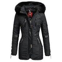 Women's Long Jacket Coats Black Winter Hooded Parkas Zipper Warm Windbreak Black Gothic Slim Femlae Overcoats Casual Outwear