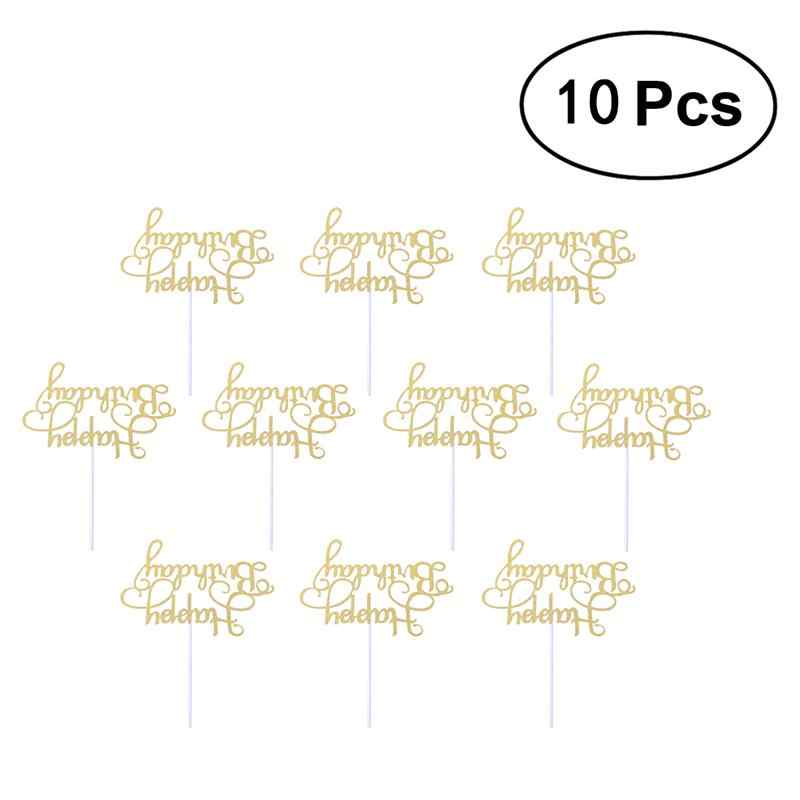 10 Pcs Dessert Cake Decorations Wooden Happy Birthday Cake Topper Creative Party Supplies
