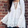 Celmia Plus Size 3XL Women Sexy Off Shoulder Chiffon Blouse Vintage Casual Solid Flare Long Sleeve Tops Shirt 2018 Summer Blusa