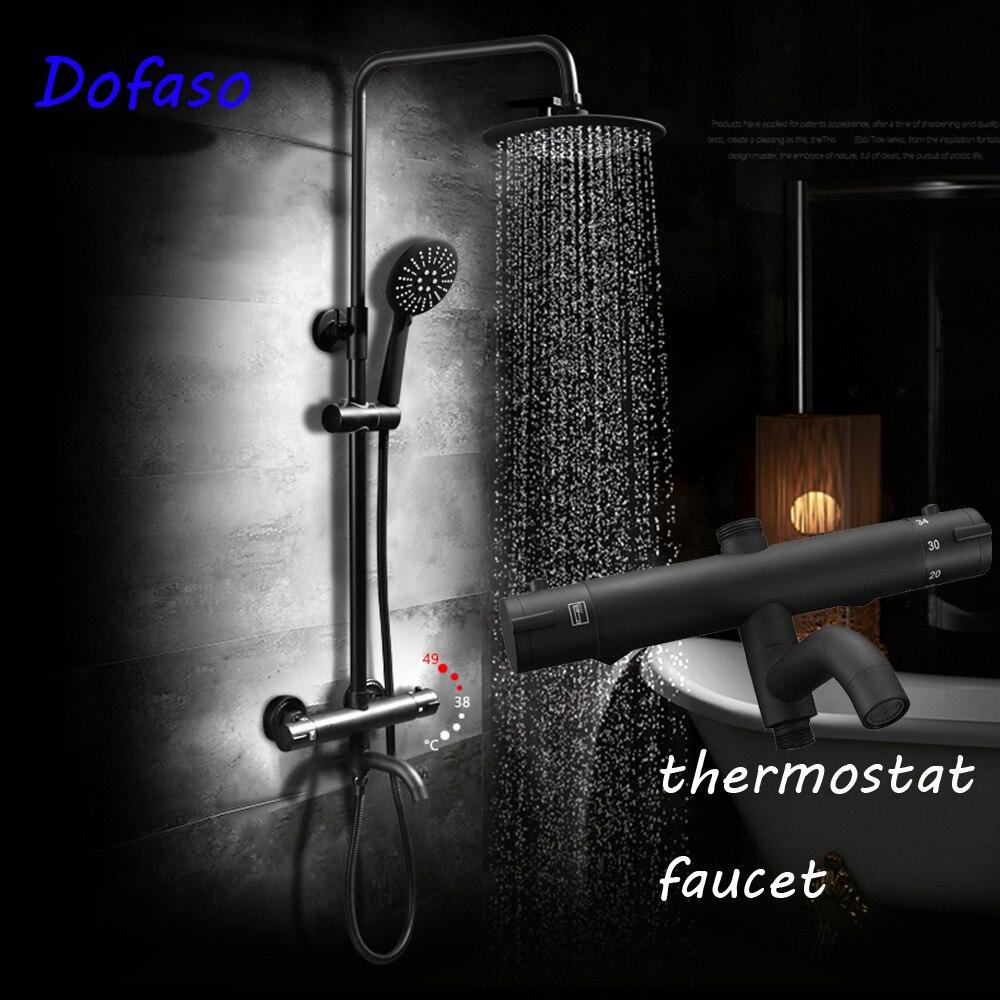 Thermostatic Shower Faucet Set Dual Handle Antique Brass Bath Shower ...