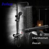 Dofaso antique 8 Black Rainfall Shower set Mixers Thermostatic Temperature Control thermostatic shower faucet retro