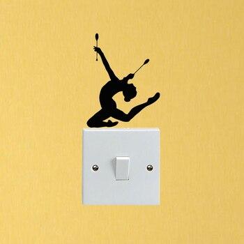 Deporte gimnasia chica personalidad decoración vinilo interruptor pegatinas en la pared pegatinas 5WS1352