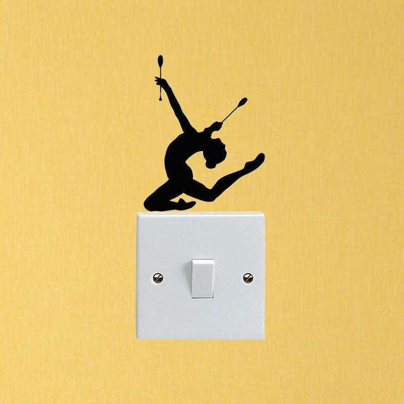 Sport Girl Gymnast Personality Decor Vinyl Wall Stickers Switch Decals 5WS1352