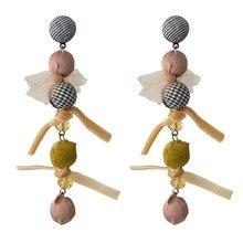 Boho Vintage caída borla largo pendientes de pompones de cristal de mujeres Pom Pon pendientes para boda fiesta joyería étnica