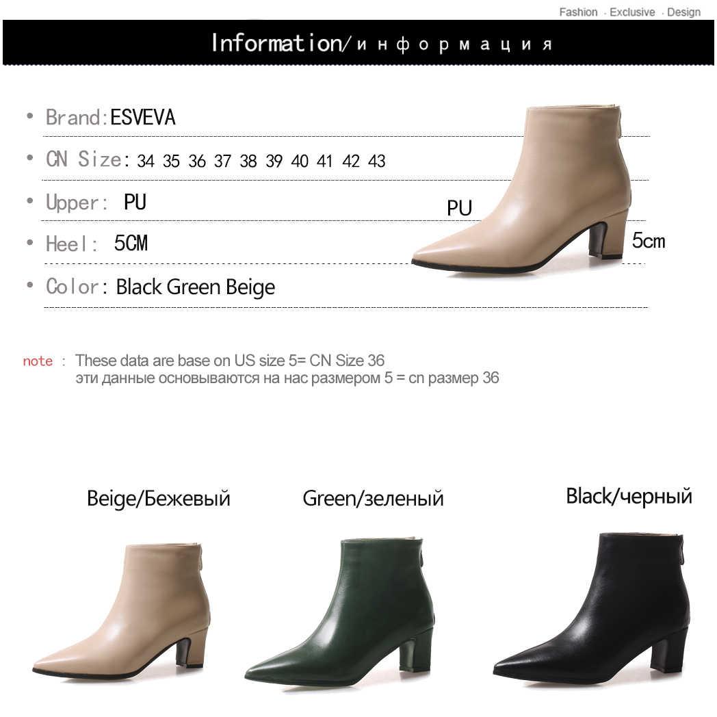 ESVEVA 2020 Kadın Botları PU Deri + PU Sonbahar Ayakkabı Zip yarım çizmeler Sivri Burun Kare Med Topuklar Zarif Kadın Ayakkabı boyutu 34-43