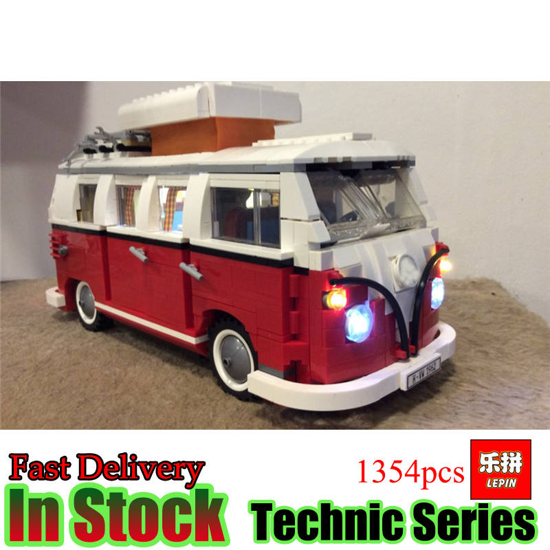 все цены на  LEPIN 21001 Technic 1354Pcs Creator Volkswagen T1 Camper Van Compatible 10220 Model Building Kits Bricks Toys Gifts  в интернете