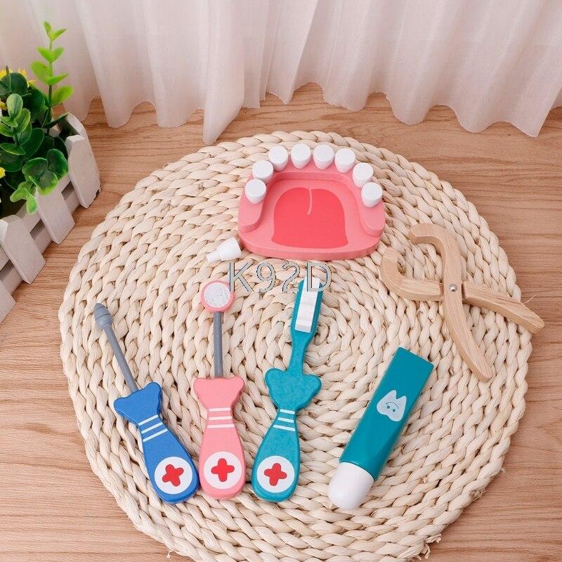 Baby Toys Doctor Set Play Wooden Dental Tools Simulation Medicine Box 6PCS/SET J05