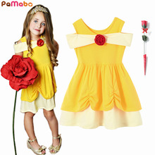 PaMaBa Trendy Summer Casual Clothes Belle Sundress with Rose Baby Girls A Line Kid Princess Mermaid Minnie Costume Pageant Frock