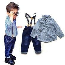 2016 Boys Clothes Suit Gentleman Autumn long-sleeved striped shirt + Strap jeans 2pcs/set baby boy children's denim pants Hot