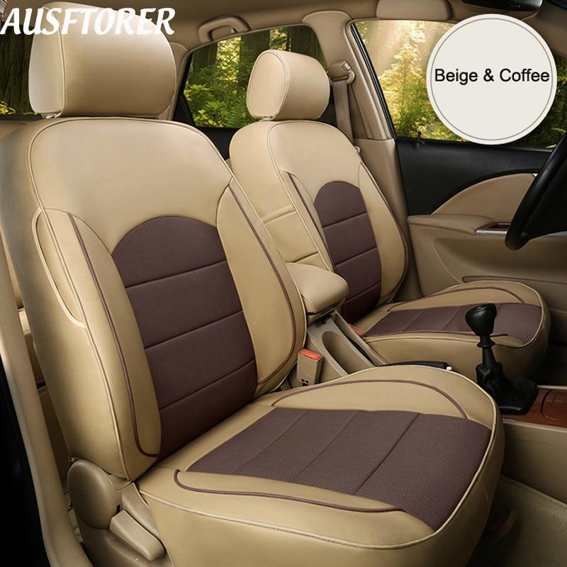 AUSFTORER чехлы для автомобильных сидений из воловьей кожи для Land Rover freelander 2 Чехлы для автомобильных сидений кожаные чехлы для сидений защитные
