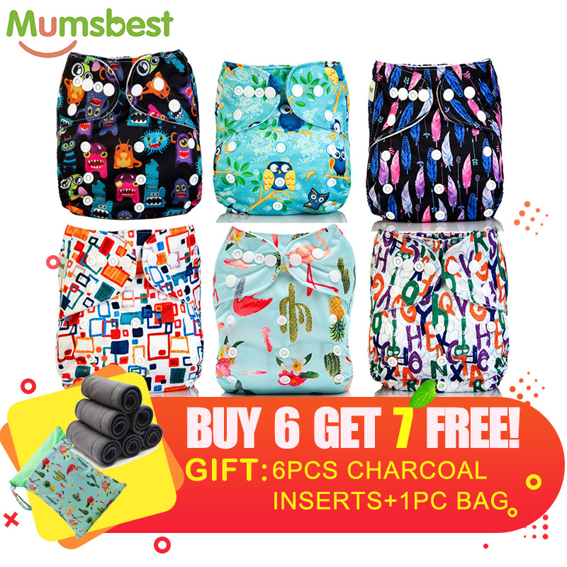[Mumsbest] Baby Cloth Diapers Nappy New Pack Sale 6pcs Diaper + 6Pcs Bamboo Charocal Insert+ 1pc Wet Nappy Bag Baby Care Pack