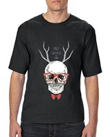 Get T Shirts Printed Short Sleeve Men Zomer Ugly Sweater Merry Christmas Skull Eyeglasses And Bowtie