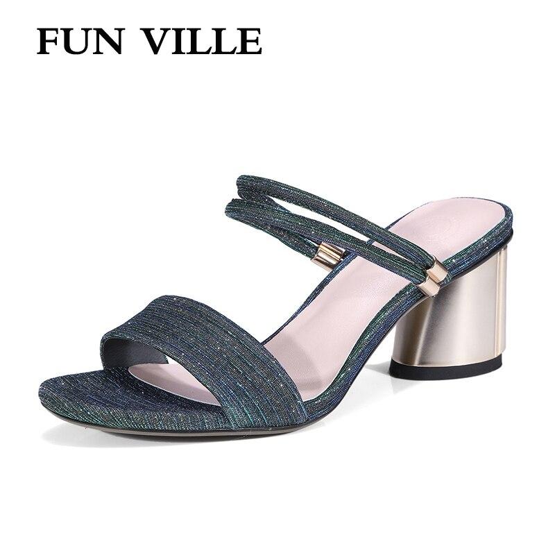 FUN VILLE 2018 Summer New Fashion Metal color Women Slippers Syhigheric high heels Open Toe shoes for woman sexy ladies shoes playmobil 5266 summer fun детский клуб с танц площадкой