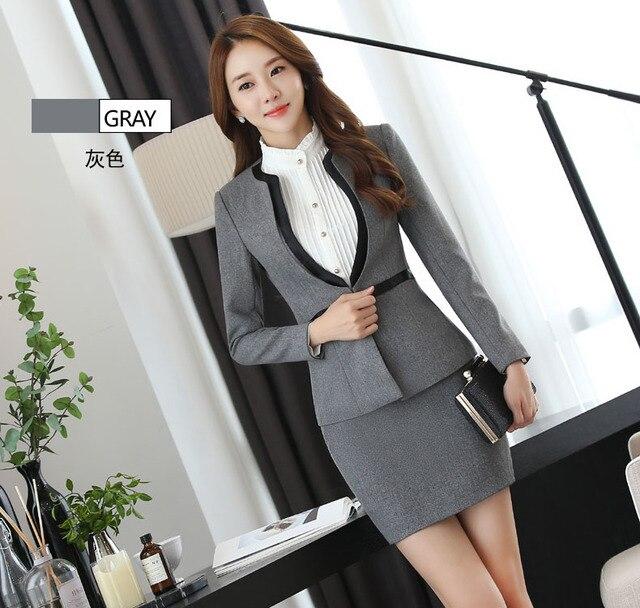 f9b40865e8d2 € 45.53 |Gris de Dos Piezas de Falda de Las Señoras Formales Traje Diseños  De Uniformes de Oficina Mujer Trajes de Negocios para trabajar en ...