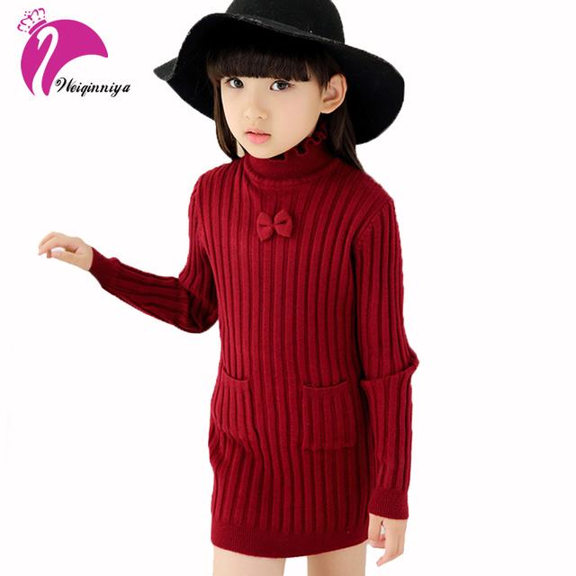 bdbccdd0e Autumn&Winter Children's Clothing Kids Girls Knit Sweater Dresses Teenage  Bow Pullover Slim Outerwear Turtleneck Toddler Clothes
