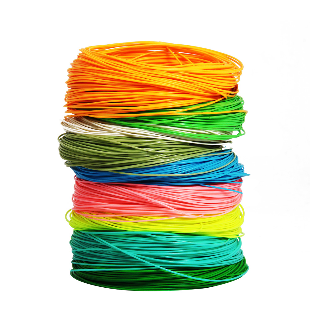 WF 2/3/4/5/6/7/8 / 9F 100FT Fly Line Hijau / Orange / Biru / Kuning Berat Terapung Floating Nylon Fly Fishing Line