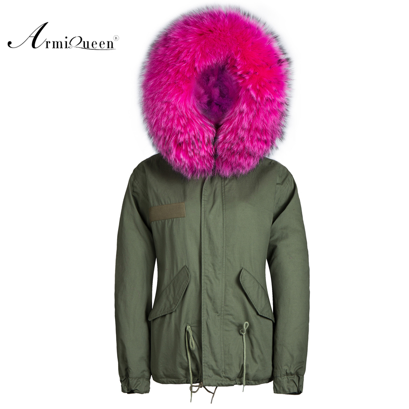european style faux fur lining with real raccoon fur on hood parkas coats