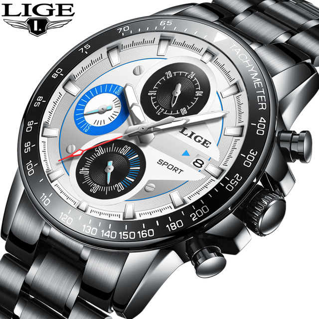 LIGE Mens Watches Top Brand Luxury Fashion Business Quartz Watch Men Sport Full Steel Waterproof Black Clock relogio masculino lige waterproof sport watch men quartz full steel clock mens watches top brand luxury business wrist watch man relogio masculino