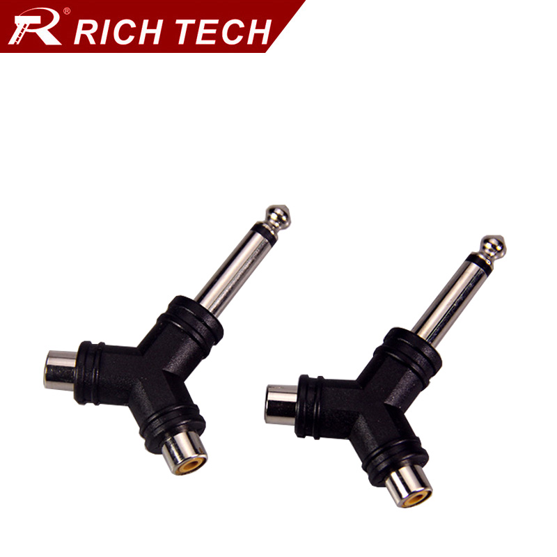 compare prices on rca connector wiring online shopping buy low 50pcs rca connector y type 6 35 plug to 2xrca jack adapter m f speaker video audio adapter