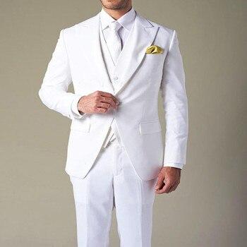 Wholesale 2017 costume homme White Groom's Wear Peak Lapel Wedding Tuxedo Suits For Men 3 Peices men suit (Jacket+Pants+Vest)