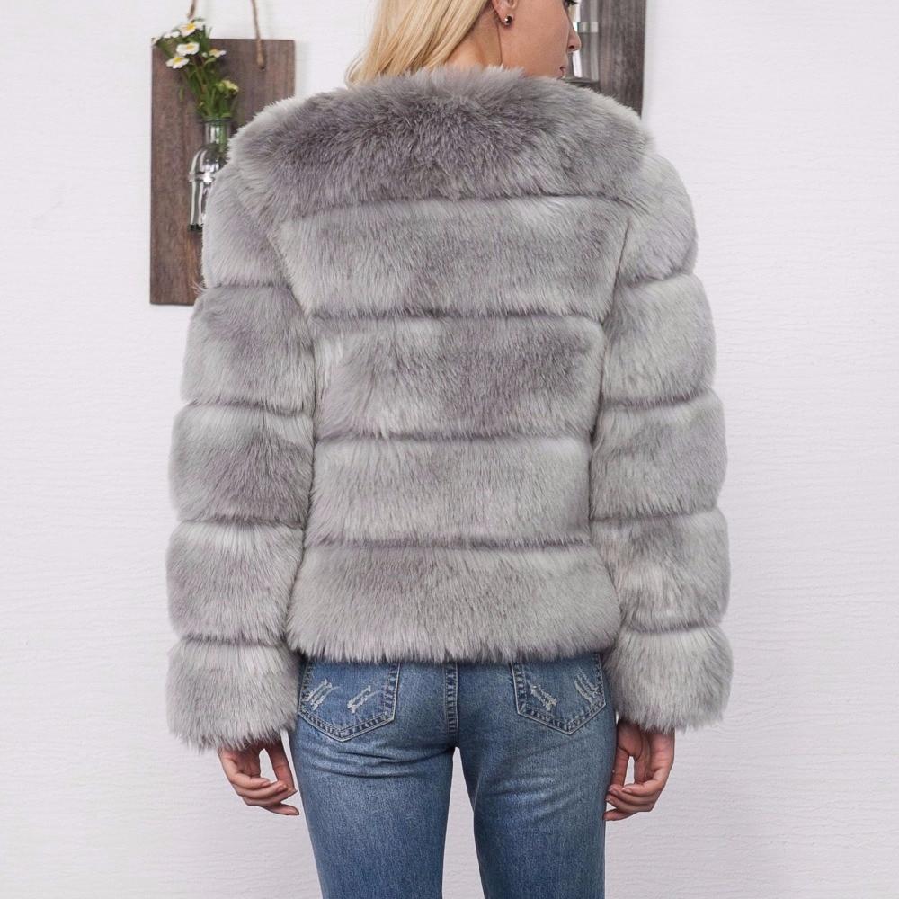 e55447f23516e Mode En De Des Varboo Faux elsa rose Noir Manteaux Femmes Vestes Chaud  Renard D hiver Manteau Gris Femme Épais Fourrure ...