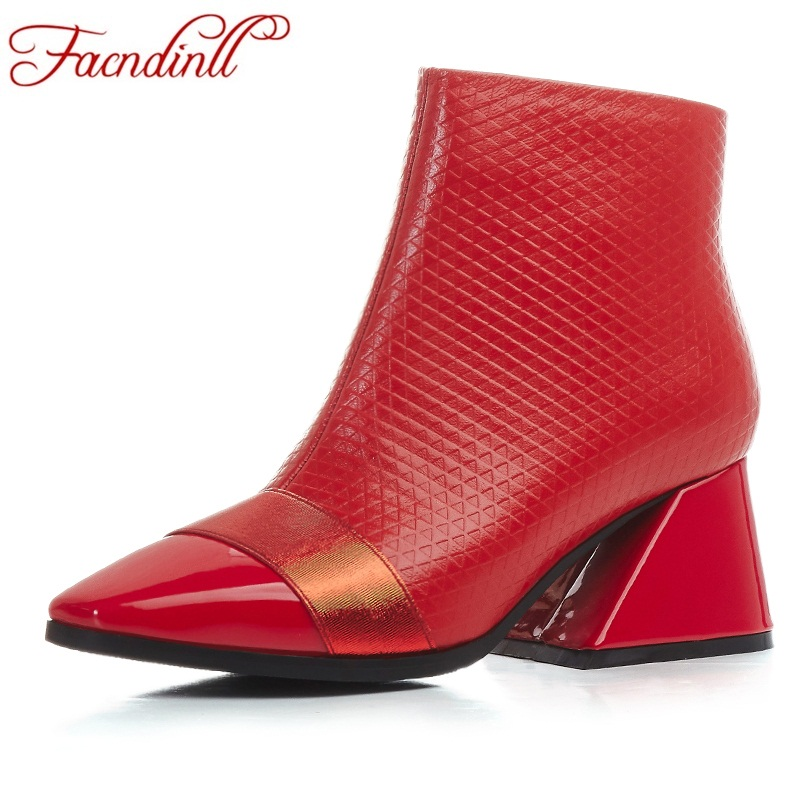 FACNDINLL genuine leather women boots new 2018 fashion square heels black red zipper shoes woman dress party casual ankle boots цена