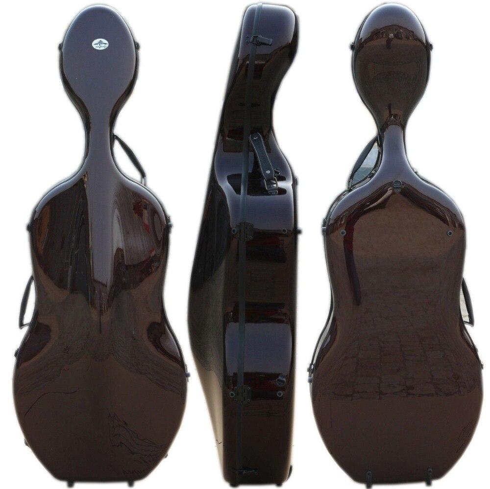 Yinfente 4/4 Cas Violoncelle Fiber De Carbone Domenico Montagnana modèle 3.9 kg Forte Lumière Noir Dur cas