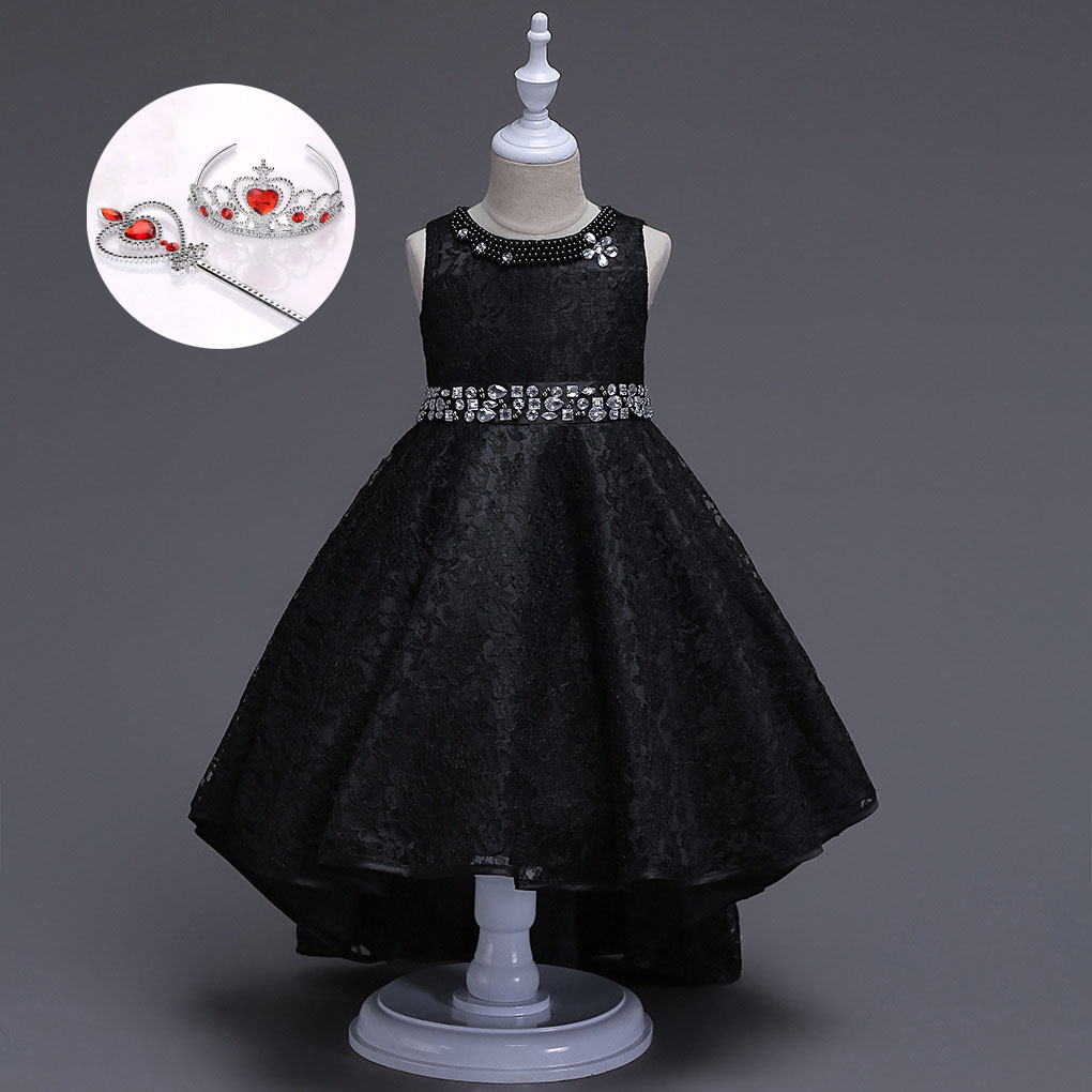 Little Girls Prom Princess Children Cocktail Dresses Gilet Pearls Beach Wedding Red Beige Royal Blue Wine Black Dress Kid