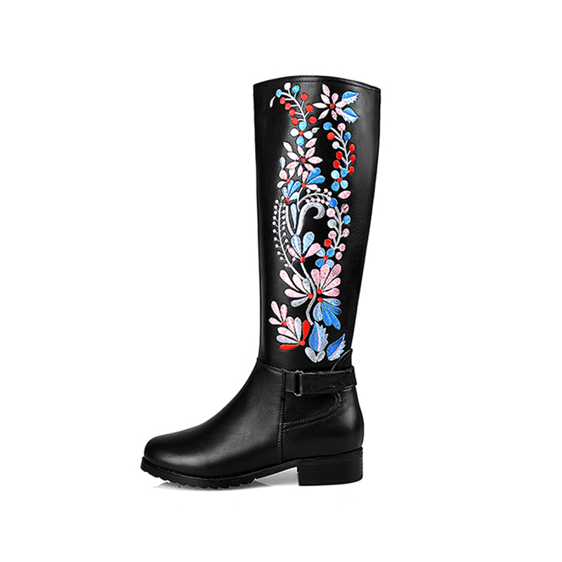 ФОТО women boots cow leather suede belt buckle side zipper Embroidery round toe flat heel shoe knee high boots eu size 34-43