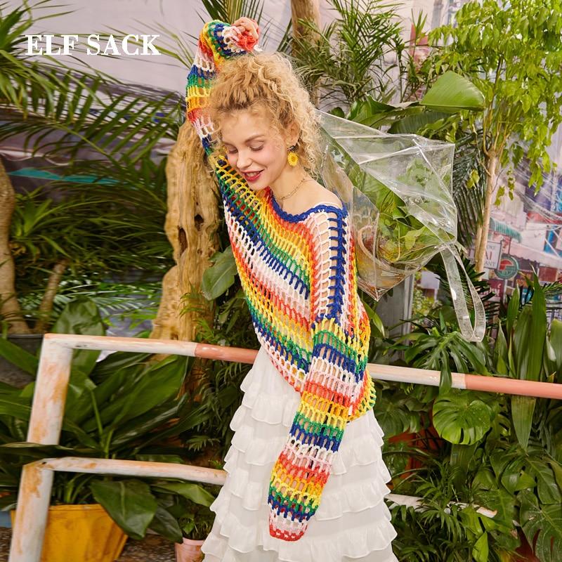 Elf sack 2019 대형 스웨터 여성 레인보우 패치 워크 o 넥 여성 스웨터 캐주얼 전체 얇은 줄무늬 숙녀 풀오버-에서풀오버부터 여성 의류 의  그룹 3