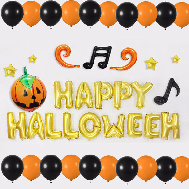 14PCS Happy Halloween Aluminum Foil Letter Balloon Set For Party DecorationPumpkin Yellow Mixed Color Combination In Ballons Accessories From