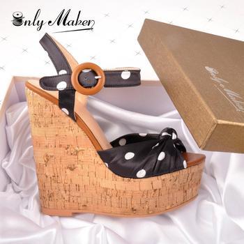 Onlymaker, Sandalias de tacón de madera con cuña para mujer, sandalias de lunares con correa en el tobillo, sandalias de Punta abierta para fiesta informal, zapatos de alta calidad 37
