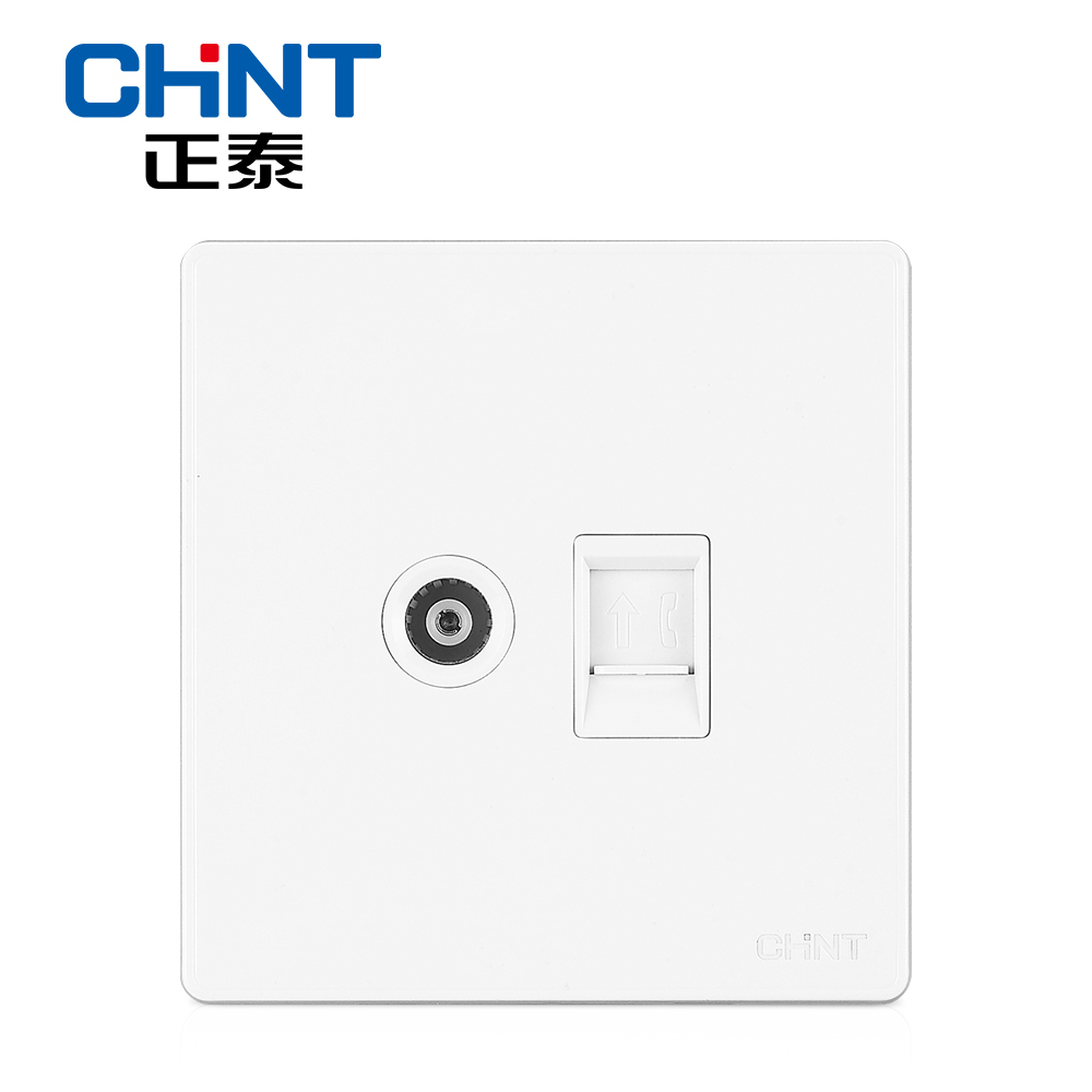 CHINT Telephone Wire Wall Switch Socket NEW2D Ivory White Panel ...