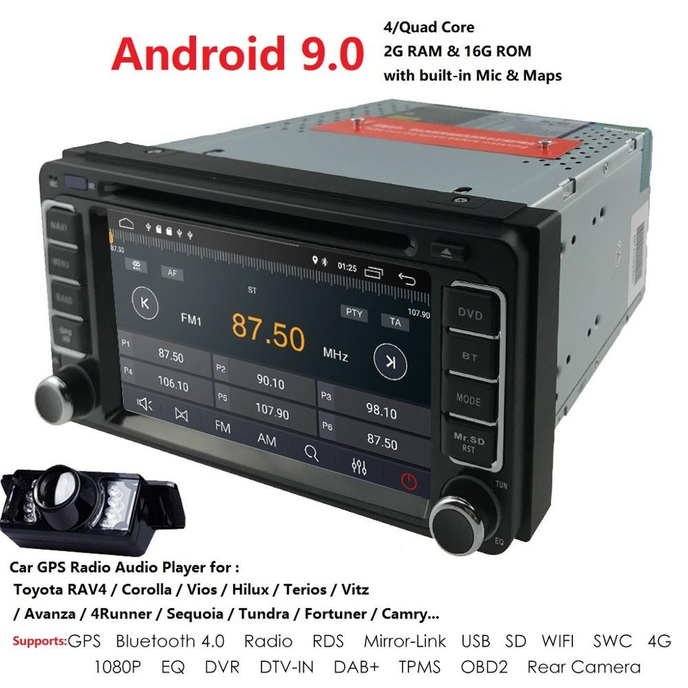 <font><b>2DIN</b></font> Quad Core Andrid 9.0 Car Universal radio For Toyota Corolla Camry 1024*600+wifi+SWC+BT RDS DVR TPMS SD Free rear camera DSP image
