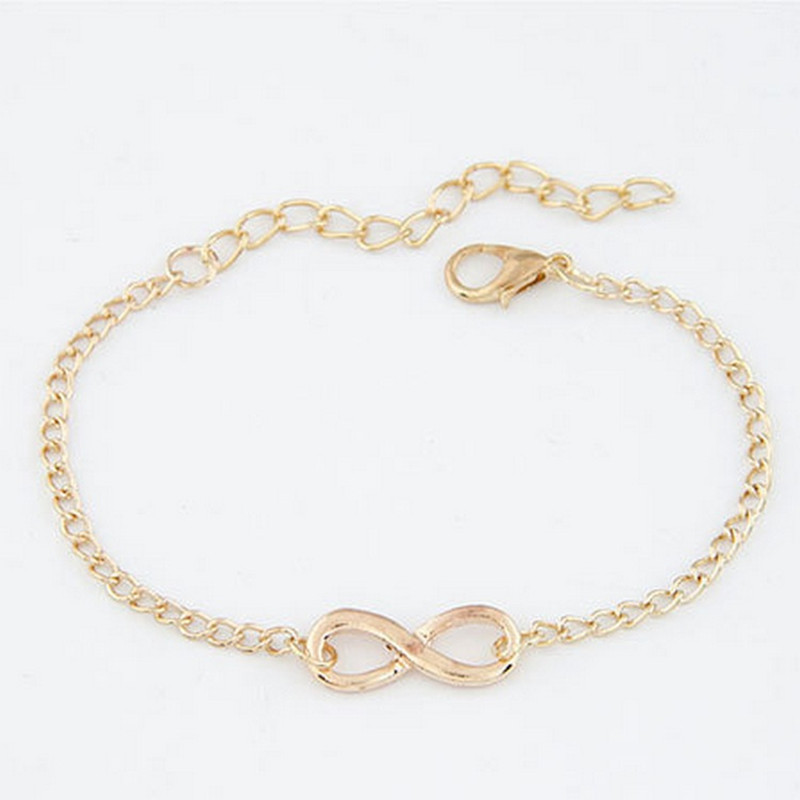 Europe and the United States new fashion simple retro auspicious digital personality eight character buckle bracelet new ladies in Chain Link Bracelets from Jewelry Accessories