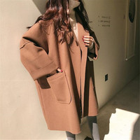 SWYIVY Woman Woolen Coat Loose Oversize Autumn Winter 2018 New Female Fashion Outwear Wool Coats Long Design 4XL Size Lady Coats