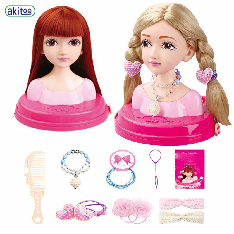Pretend Play Persevering Akitoo Fashion Hair Stylist Doll Makeup Tiara Practice Comb Head Tie Scorpion Girl Play House Toy Gift #3207 Strengthening Sinews And Bones Toys & Hobbies