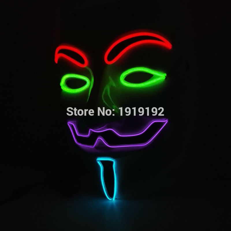 By 3V Sound Active Driver 2017 New Hot Sale 4 Color Guy Flash El Wire Led Glowing Dj Mask Cosplay Mask V for Vendetta Mask