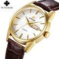 Top Brand WWOOR Men Watches Men Quartz Analog Hour Date Clock Genuine Leather Strap Luxury Casual Sport Wrist Watch Male Relogio