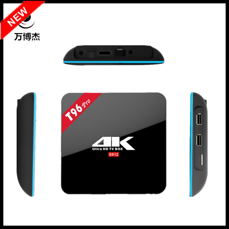 ФОТО T96 PRO Network S912 Net 3G/16G Bluetooth 4.0 TVBOX Octa core 4K 2K H.265 smart tv box 2.4G+5G WiFi KODI android tv box