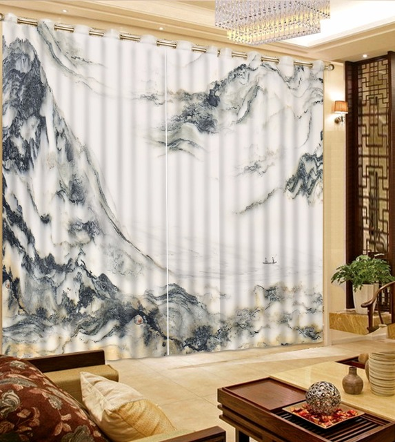 US $54.0 55% di SCONTO|Tende Per La Camera Da Letto moderna artistico  concezione montagna 3D 3D Photo art marmo Tenda Tende Della Finestra 3D ...