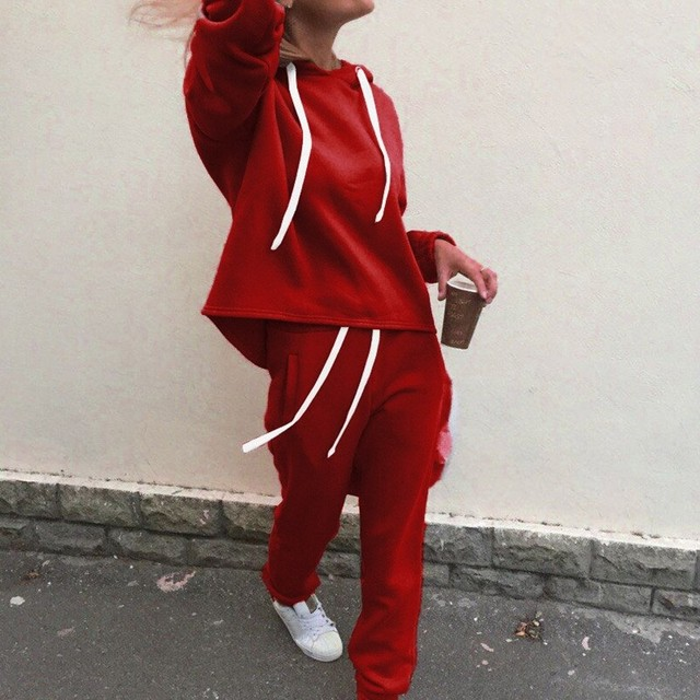 New Thicken Hooded Sweatshirts 2 Piece Casual Sport Suit Set 5