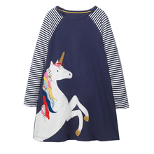 Baby Girls Unicorn Dress Long Sleeve Children Princess Dress Animal Applique Christmas Costume for Kids Dresses