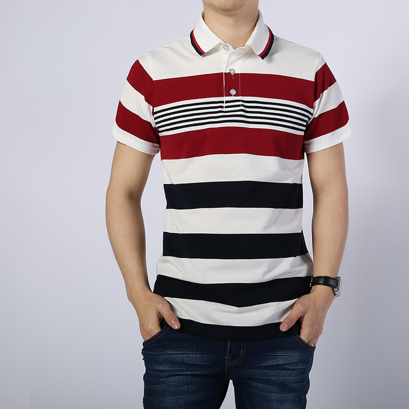 Free Shipping 2018 New style Cotton camisa Men   Polo   Shirt Casual Striped Slim short sleeves ASIAN SIZE M-4XL