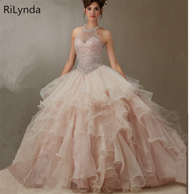 Champagne Quinceanera Dresses 2019 Ball Gowns Scoop Beaded Crystal  Embroidery Sweet 16 Dress Vestidos De 15 Anos d39249c6d121