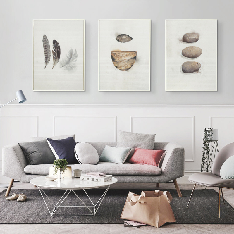 Bianche Wall Abstract Feather Bird Nest Bowl A4 Canvas Painting Art Print Poster Picture Wall Paintings Home Decor  Painting
